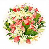 Roses and Lily Flowers Bunch Illustration