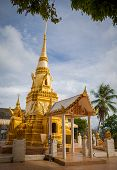 stock photo of sanctification  - Front of a beautiful Buddhist temple in Thailand - JPG