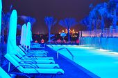 Night Illumination Of The Modern Luxury Hotel On Palm Jumeirah Man-made Island, Dubai, Uae