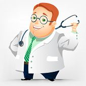Cartoon Character Cheerful Chubby Men. Doctor. Vector Illustration. EPS 10.