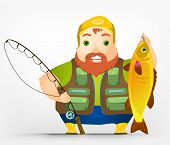 Cartoon Character Cheerful Chubby Men. Fisherman. Vector Illustration. EPS 10.