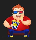 Cartoon Character Cheerful Chubby Men. Movie. Vector Illustration. EPS 10.