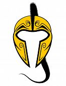 foto of hoplite  - Isolated drawing of a spartan helmet - JPG
