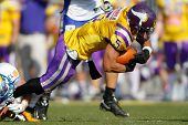 VIENNA, AUSTRIA - MARCH 25: WR BachTimothee Bach (#5 Vikings) is tackled on March 25, 2012 in Vienna