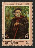 USSR - CIRCA 1973: Postage stamp printed in USSR dedicated to Mikhail Mikhailovich Prishvin (1873-1954), Soviet writer, circa 1973.