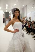 ZAGREB, CROATIA - FEBRUARY 9: Fashion model wears wedding dress at 'Wedding expo' fashion show, on February 9, 2013 in Zagreb, Croatia.
