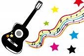 Black Guitar And Stars
