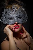 stock photo of incognito  - Close up shot of gorgeous Incognito woman in ancient style mask - JPG