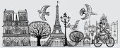 Vector illustration of an original composition about Paris -all elements separated-