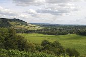 stock photo of dork  - Range of hills the North Downs at Dorking - JPG