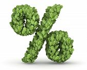 Percent sign from green leaves