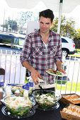 LOS ANGELES - FEB 9:  Jason Thompson at the 4th General Hospital Habitat for Humanity Fan Build Day