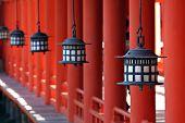 Lanterns At Miyajima'S Itsukushima Shrine In Japan
