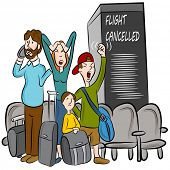 An image of passengers angry about a cancelled flight.