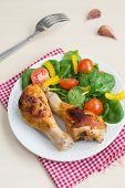 Two Roasted Chicken Legs With Salad