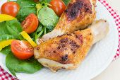 Roasted Chicken Legs With Fresh Vegetables Salad