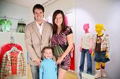 Family With Boy In Children`S Shop