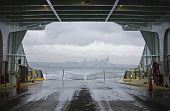 Washington State Ferry With Seattle In Winter