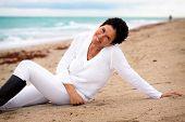Natural woman at beach