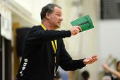 SIOFOK, HUNGARY - FEBRUARY 9: Oldrup Jelsen Fehervar trainer in action at a Hungarian National Champ