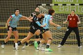 SIOFOK, HUNGARY - FEBRUARY 9: Tamara Tilinger (blue 9) in action at a Hungarian National Championshi