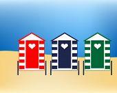 Vector illustration Beach huts at sunny seaside