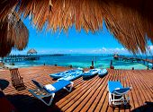stock photo of jetties  - Luxury Vacation Concept - JPG