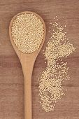 Quinoa grain in wooden spoon over papyrus background.