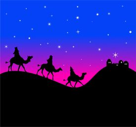 pic of magi  - The three wisemen follow the star in the east - JPG