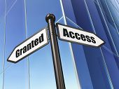 Privacy concept: Access Granted on Building background