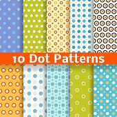 stock photo of tile  - 10 Different dot vector seamless patterns  - JPG