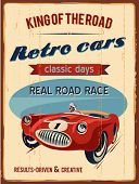 stock photo of car symbol  - Retro car race sign - JPG