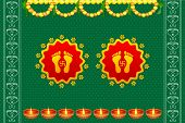picture of shakti  - vector illustration of footprints of Goddess Lakshami on Diwali - JPG