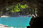 Azure Pool Seen From Cave