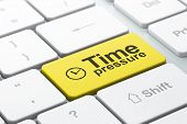 Clock and Time Pressure on computer keyboard backg