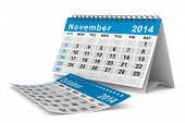 2014 year calendar. November. Isolated 3D image