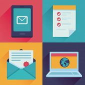 foto of contract  - Vector communication icons in flat retro style  - JPG