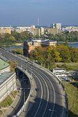 Cityscape Of Warsaw, Poland, Slasko-dabrowski Bridge.