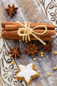 Spices, ginger and anise stars with cinnamon sticks, Christmas spices