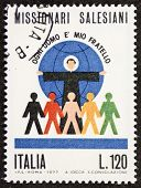 ITALY - CIRCA 1977: a stamp printed in Italy celebrates the Roman Catholic religious institute of the salesians of Don Bosco. Italy, circa 1977