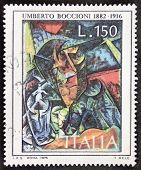 ITALY - CIRCA 1976: a stamp printed in Italy celebrates Umberto Boccioni (1882 - 1916), Italian painter and sculptor, showing his painting Decomposition of Woman's Figure. Italy, circa 1976