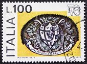ITALY - CIRCA 1976: a stamp printed in Italy celebrates Expo Italy showing symbol of Postal Service