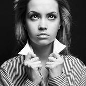 Fashion photo of young beautiful blonde lady