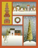 Vintage Christmas Poster - Collage with Christmas tree, Christmas wreath, snowed-in villages, snowman and a stack of gifts