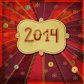 2014: Happy New Year - New Year's greeting card, with doodle numbers and label, hand drawn and sewn