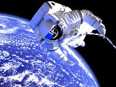 stock photo of gravity  - The astronaut in outer space against globe - JPG