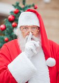 Portrait of Santa Claus with finger on lips outdoors