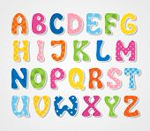 stock photo of school carnival  - Cute color textured sticker alphabet - JPG