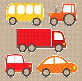 Set Of Cute Vector Colorful Transport Stickers. Cars.