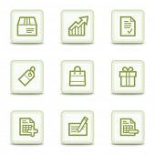 Shopping web icons set 1, white glossy buttons